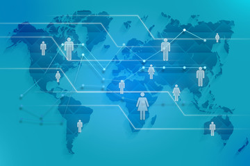 Social map of the world with images silhouette people