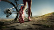 Athlete woman is running with her extreme mountain bike outdoors - 70157709