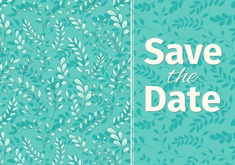 Wedding turquoise invitation template.
