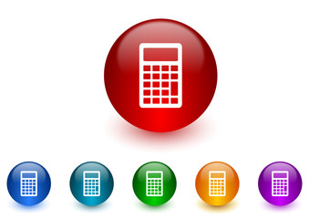 calculator internet icons colorful set