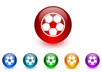 soccer internet icons colorful set