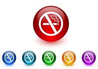 no smoking internet icons colorful set