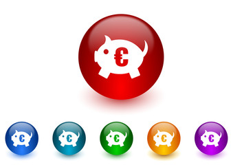 piggy bank internet icons colorful set