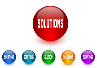 solutions internet icons colorful set