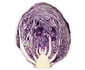 Red Cabbage sliced isolated on white