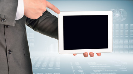 Two hands using tablet pc