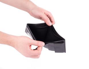 Empty black purse in hand.