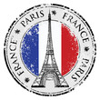 Paris town in France grunge stamp, eiffel tower vector - 70158927