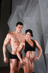 Couple of well trained bodybuilder
