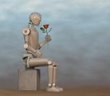 Robot observando una rosa