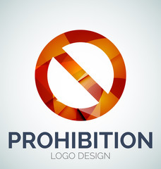 Prohibition symbol, logo made of color pieces