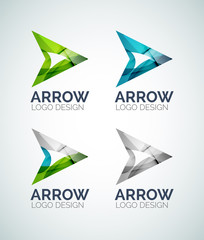 Arrow logo design made of color pieces