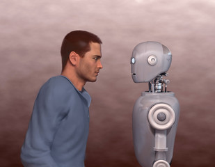 Hombre frente a un robot
