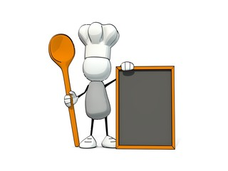 little sketchy man with chef's cap cooking spoon and menu board