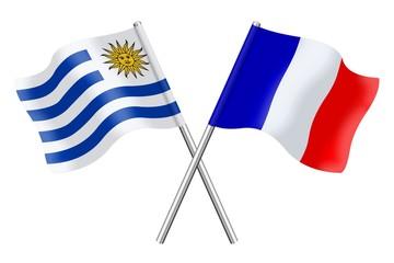 Drapeaux: Uruguay et France