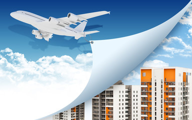 Airplane and buildings