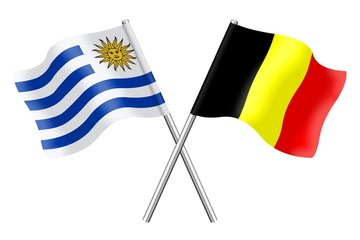 Flags: Uruguay and Belgium
