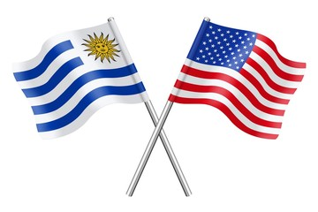 Flags: Uruguay and USA