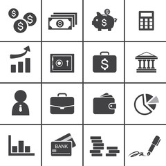Money, finance, banking icons