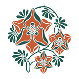 Floral round pattern in modernist style. poster