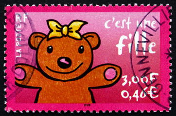 Postage stamp France 2001 It's a Girl, Announcement