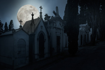 Full moon night cemetery