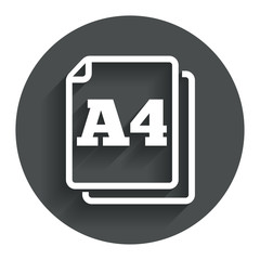 Paper size A4 standard icon. Document symbol.