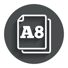 Paper size A8 standard icon. Document symbol.