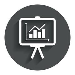 Presentation billboard sign icon. Diagram symbol