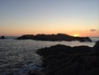 canvas print picture - sunset by the see corsica