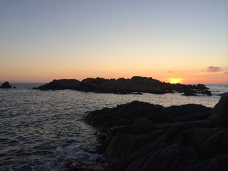sunset by the see corsica