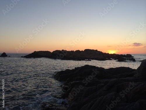 canvas print picture sunset by the see corsica