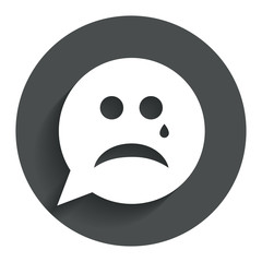 Sad face with tear sign icon. Crying symbol.