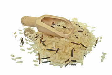 Wooden Kitchen Shovel With Wild Rice And Basmati Rice