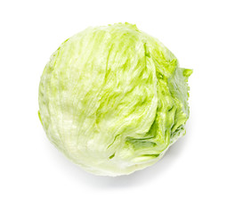 Head of Iceberg Lettuce on White