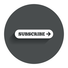 Subscribe with arrow sign icon. Membership symbol