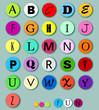 Alphabet on multicolor circles