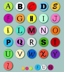 Alphabet on multicolor circles