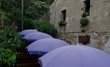 Row of purple umbrellas in a small restaurant in fortress of Tos