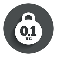 Weight sign icon. 0.1 kilogram (kg). Mail weight