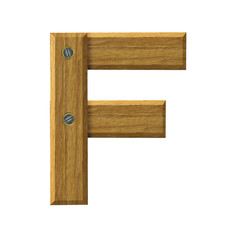 Letter F in created in wood