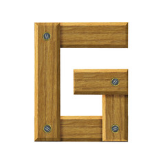 Letter G in created in wood