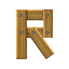 Letter R in created in wood