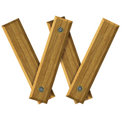 Letter W in created in wood