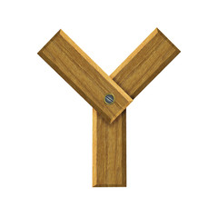 Letter Y in created in wood