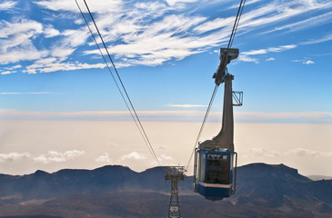 view of cable car over mountain range