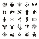 Fototapety Christmas and winter icons