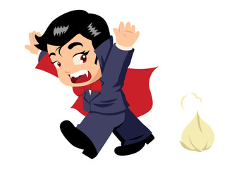 Cute cartoon of Dracula afraid of garlic