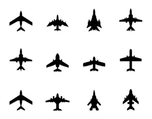 vector icons of airplanes