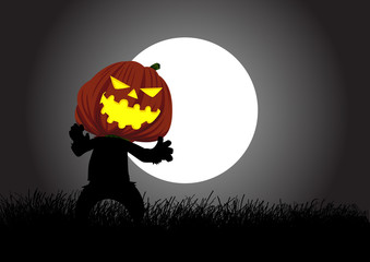 Halloween background of pumpkin ghost walking during full moon